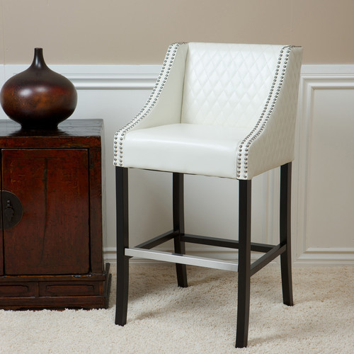 Milano Bonded Leather Quilted Barstool In Ivory Modern