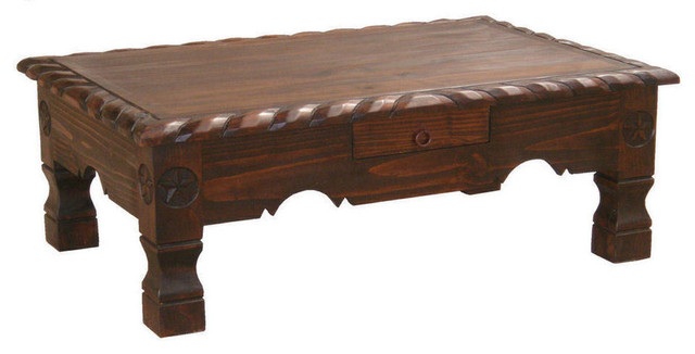Dark rope trimmed coffee table with star details for Southwestern coffee table