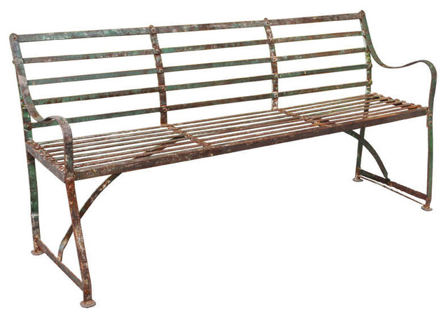 A turn of the century painted wrought and cast iron garden bench Wrought iron outdoor bench