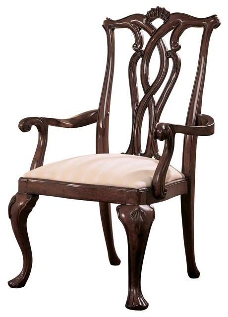 American Drew Cherry Grove Pierced Back Arm Chair In Antique Cherry Set Of 2