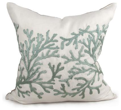 Portland Coastal Beach Seafoam Green Square Pillow beach-style-decorative-pillows