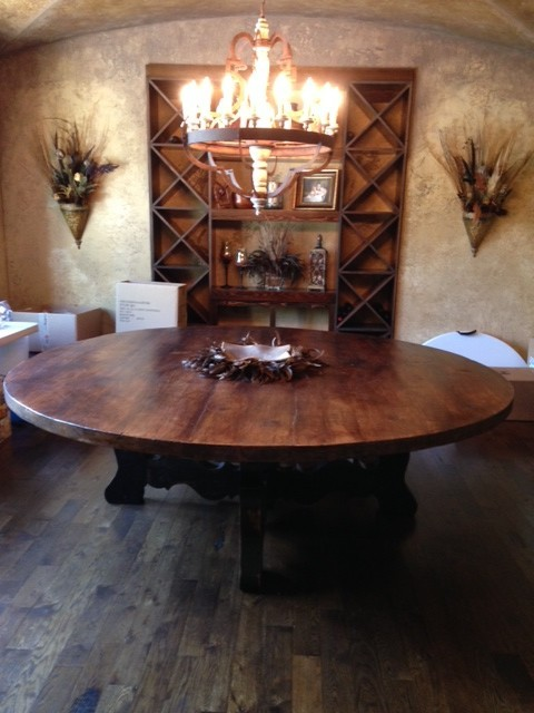 Smith Large Round Reclaimed Pine Trestle Dining Table  : traditional from www.houzz.com size 480 x 640 jpeg 69kB