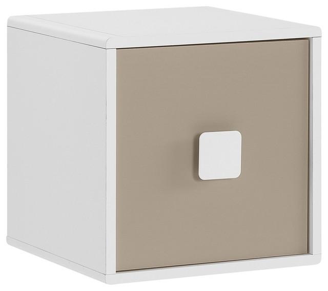 c sar cube de rangement blanc et taupe poser ou fixer contemporain bac et bo te de. Black Bedroom Furniture Sets. Home Design Ideas