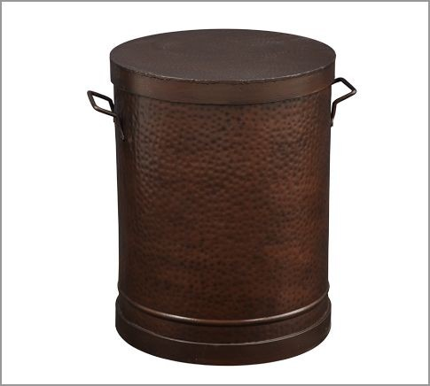 Rawson Metal Drum Accent Table Contemporary Side