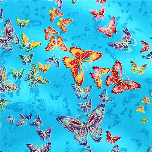 Turquoise Butterfly Animal Fabric Timeless Treasures