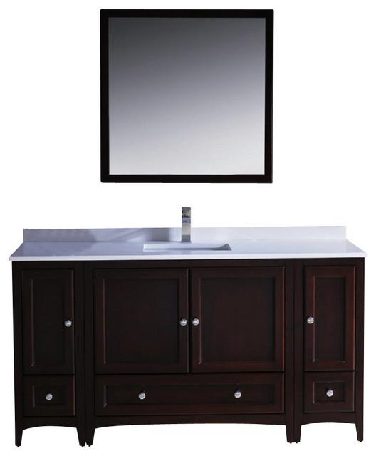 60 inch single sink bathroom vanity mahogany transitional