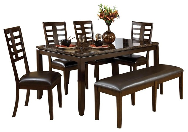 piece dining room set with faux marble top traditional dining sets