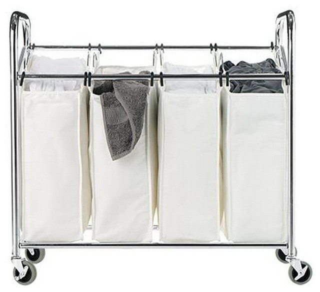 Chrome And Canvas 4 Section Laundry Sorter Transitional Hampers By Luxe Home Decorators