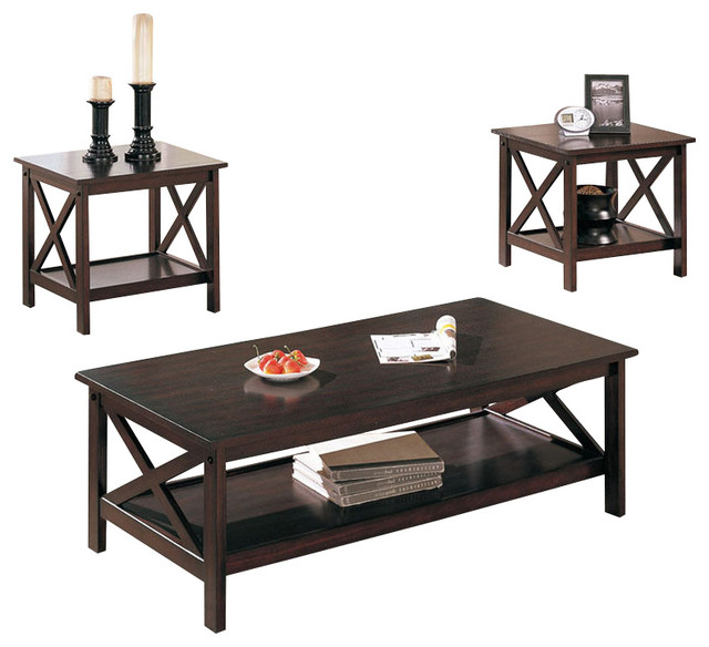 x shape 3 pc dark brown low shelf living room coffee end occasional table set contemporary. Black Bedroom Furniture Sets. Home Design Ideas
