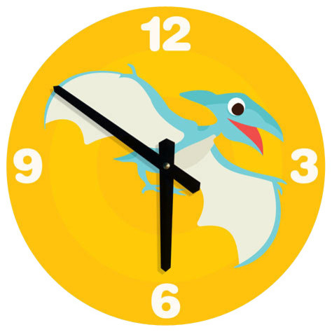 Large wall clock for kids dinosaur illustration for Wall clock images for kids