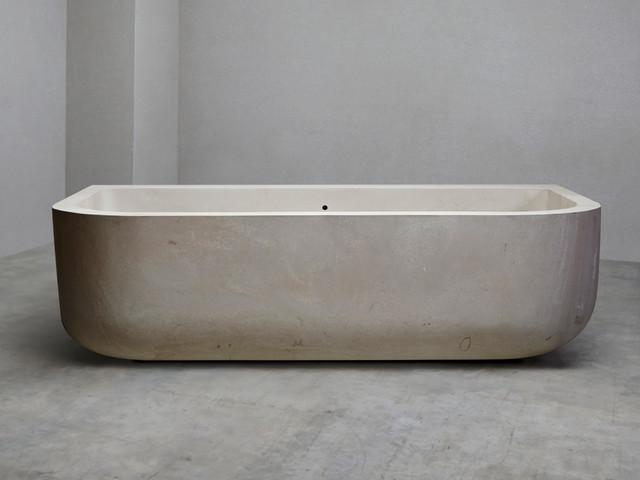 Square back white moleanos limestone bath contemporary for Limestone tub