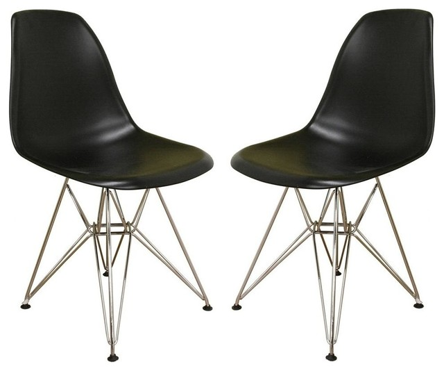 baxton studio bucket accent chairs in black and chrome 2