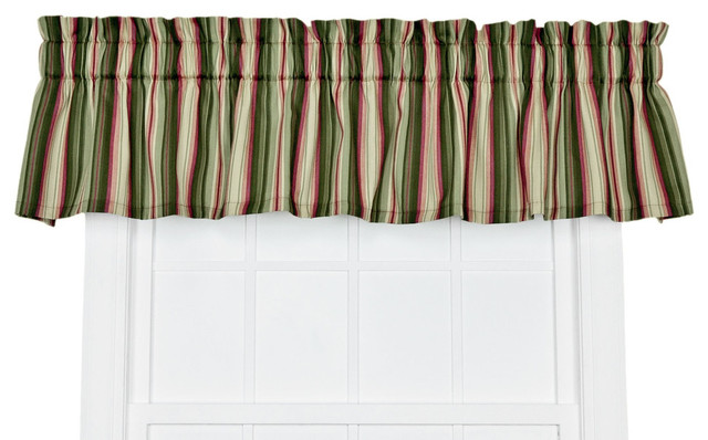 Ellis Curtain Montego Stripe Tailored Valance 85 X12 Window Curtain Green Curtains By