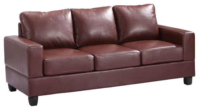 Glory Furniture Tufted Sofa Brown Pu Traditional