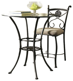 Steve silver brookfield round glass counter table with gun for Traditional dining table bases