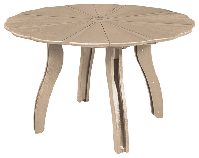 Generations 52 Scalloped Round Dining Table With Base Beige Table