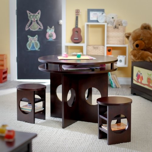 Kids Table And Chairs Set Espresso: Classic Playtime Round Storage Table And Chair Set