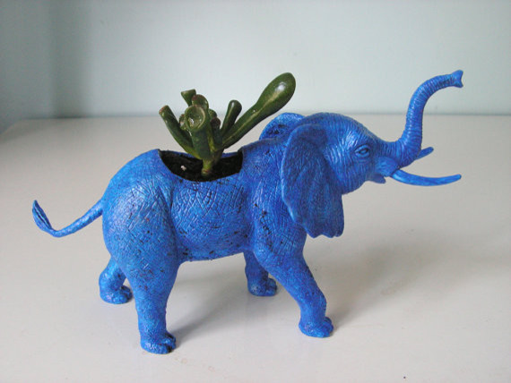Upcycled Blue Elephant Toy Planter Eclectic Vases By Etsy