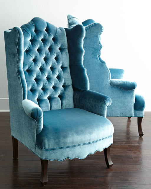 Peacock Velvet Wing Chair victorian armchairs and accent