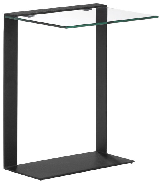 modern contemporary living room side table black glass