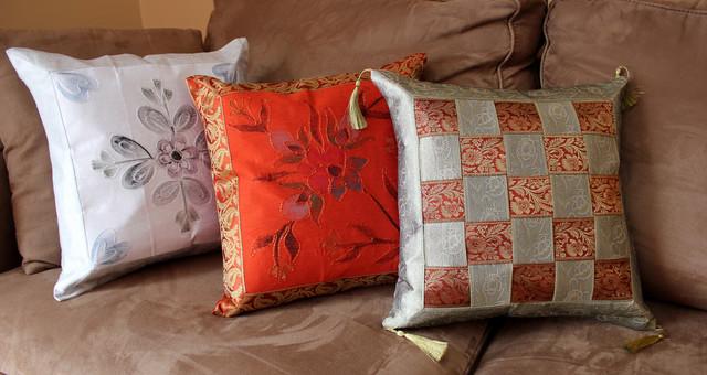 Fun Decorative Pillow Combinations - Asian - Decorative Pillows - boston - by Banarsi Designs