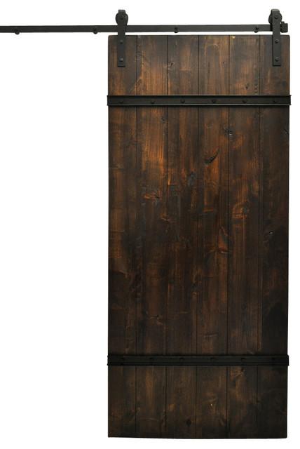 Dogberry drawbridge sliding barn door and hardware dark for Farmhouse sliding door