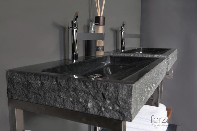 Unique natural stone basin contemporary bathroom sinks for Designer bathroom sinks basins