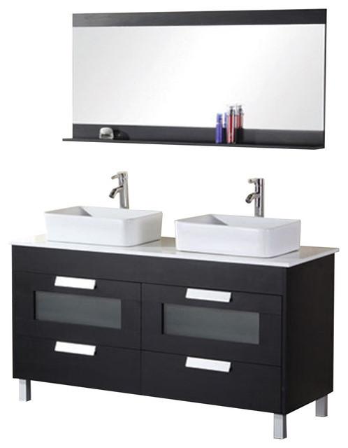 Francesca 55 Double Sink Vanity Set Espresso Modern Bathroom Vanities And Sink Consoles