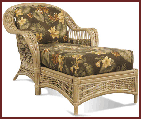 Rattan chaise traditional outdoor chaise lounges for Black outdoor wicker chaise