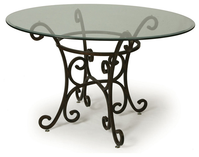 Pastel Verdugo Round Glass Top Dining Table In Autumn Rust Traditional Dining Tables By