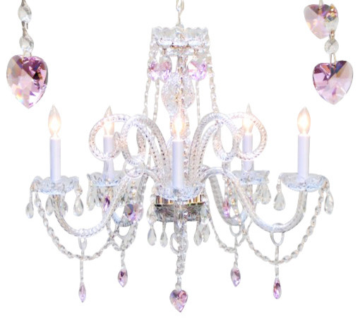 Chandelier With Crystal Pink Hearts Traditional Kids