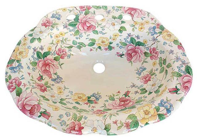 Floral Bathroom Sinks : Chintz Floral Drop-in Sink - Bathroom Sinks - las vegas - by Decorated ...