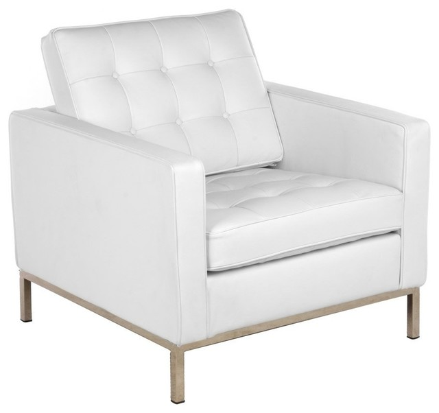 Button white leather arm chair modern living room chairs for White leather living room chairs