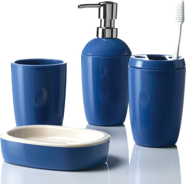In out 4 piece bathroom accessory set blue bathroom for Cream bathroom accessories set