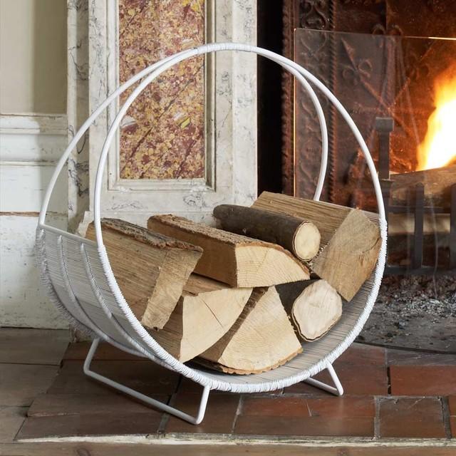 White Log Basket Modern Firewood Storage Log Racks