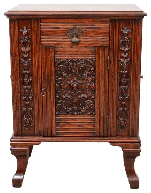 British Antique Carved Oak Dry Bar - Victorian - Accent ...