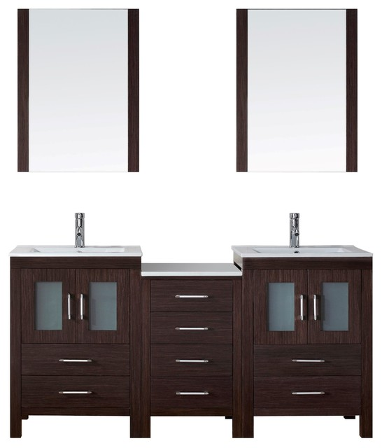 Dior 66 Double Bathroom Vanity Cabinet Set In Espresso