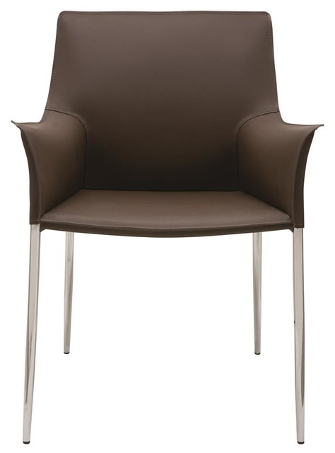 Dining arm chair in mink contemporary dining chairs for Contemporary dining room chairs with arms