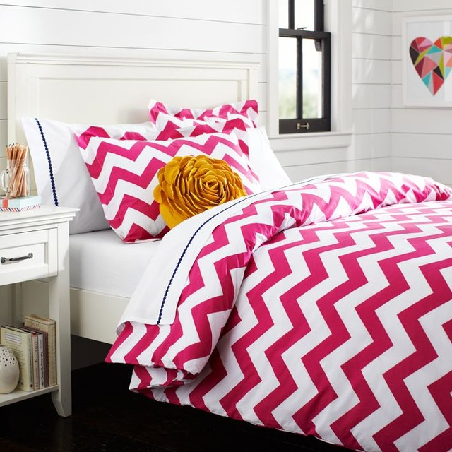 Chevron Duvet Cover + Sham, Pink Magenta - Duvet Covers And Duvet Sets - other metro - by PBteen