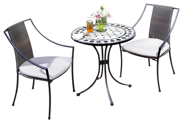 Home Styles Marble Bistro Table & 2 Chairs in Black & Gray Transiti