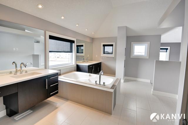 The fusion contemporary bathroom edmonton by kanvi for Bathroom decor edmonton