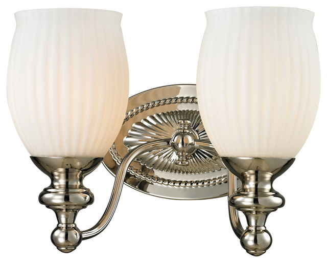 Bathroom Vanity Lights Traditional : Park Ridge 2-Light Bath Fixture, Polished Nickel traditional-bathroom-vanity-lighting
