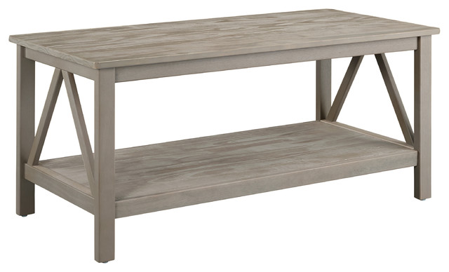 Titian rustic coffee table gray beach style coffee for Rustic coastal coffee table