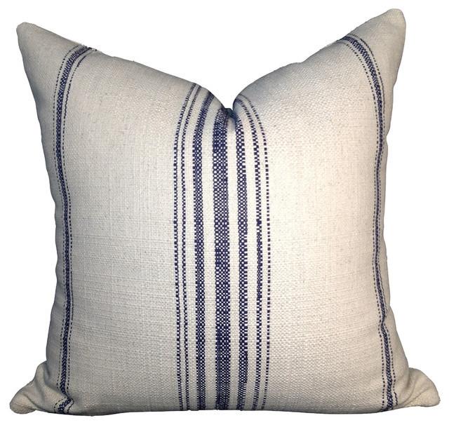 Decorative Primitive Pillows : Primitive Stripe Cotton Pillow Cover, Off White and Navy Blue, 12