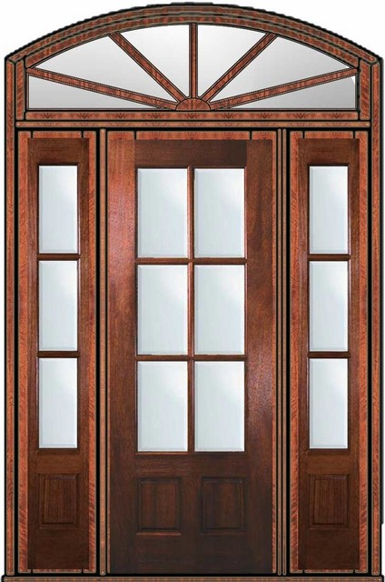 Prehung french sidelights transom door 96 mahogany 3 4 for 96 inch exterior french doors