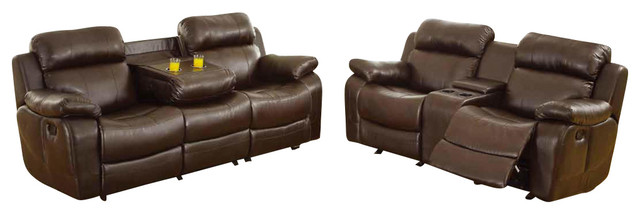 piece reclining living room set in brown leather living room