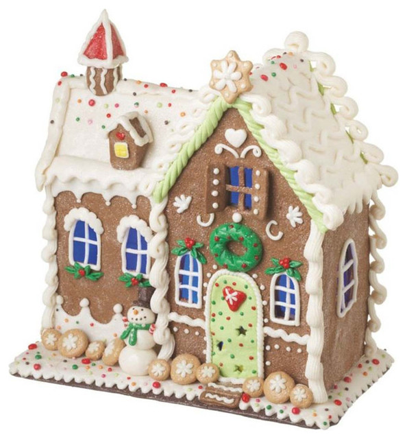 Lighted Led Gingerbread House Decor Traditional Dog