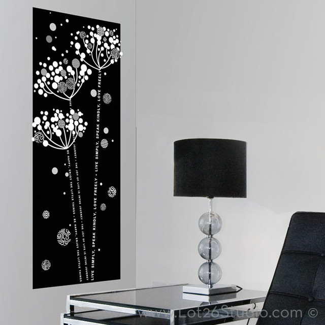 Black & White Floral Wall Decal Banner wall-decals