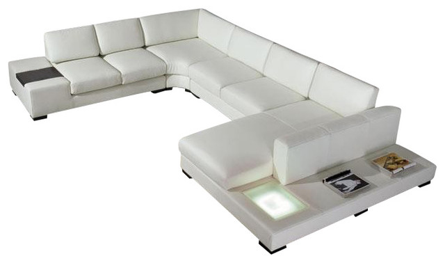 Bonded Leather Sectional Sofa With Light White
