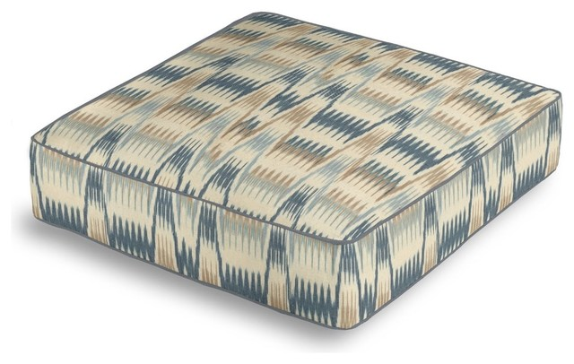 Tan and Blue Flame Stitch Box Floor Pillow - Eclectic - Decorative Pillows - by Loom Decor